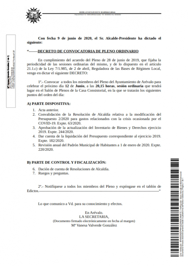 Convocatoria del Pleno ordinario de 12 de junio de 2020